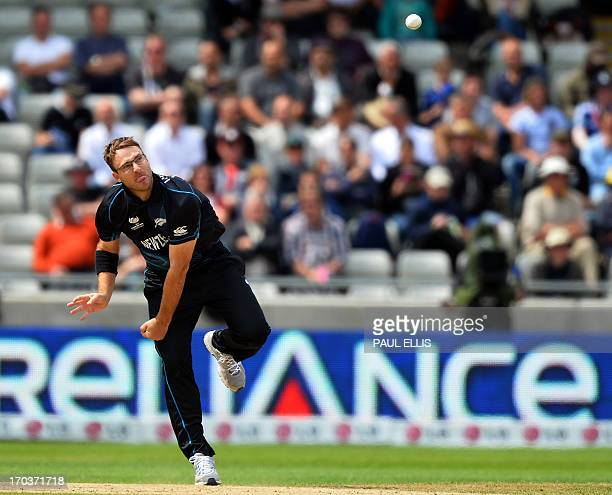 New Zealand's Daniel Vettori delivers a ball during the 2013 ICC Champions Trophy One Day International cricket match between Australia and New...