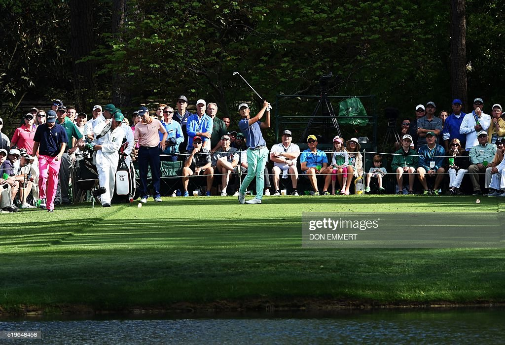 New Zealand's Danny Lee tees off on the 16th hole during Round 1 of the 80th Masters Golf Tournament at the Augusta National Golf Club on April 7, 2016, in Augusta, Georgia. EMMERT