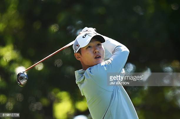 New Zealand's Danny Lee tees off on the 3rd hole during Round 2 of the 80th Masters Golf Tournament at the Augusta National Golf Club on April 8 in...