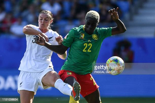 New Zealand's defender Anna Green vies for the ball with Cameroon's midfielder Michaela Abam during the France 2019 Women's World Cup Group E...