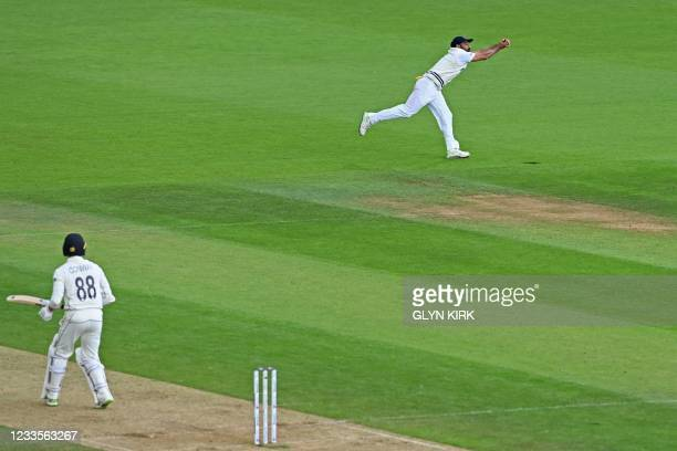 New Zealand's Devon Conway looks on as India's Mohammed Shami takes a catch to dismiss him for 54 on the third day of the ICC World Test Championship...