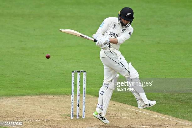New Zealand's Devon Conway plays a shot during play on the third day of the ICC World Test Championship Final between New Zealand and India at the...