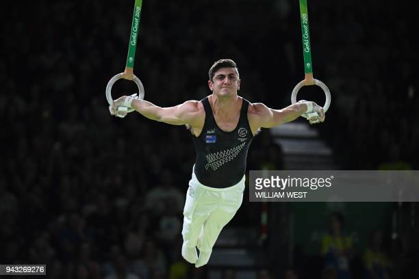 New Zealand's Devy Dyson competes in the men's rings final artistic gymnastics event during the 2018 Gold Coast Commonwealth Games at the Coomera...