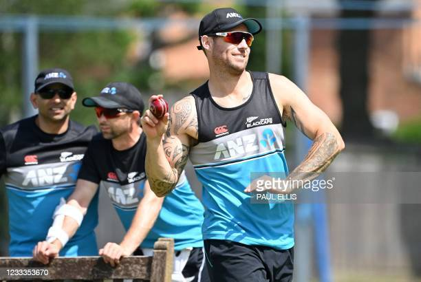 New Zealand's Doug Bracewell attends a training session at Edgbaston Cricket Ground in Birmingham, central England on June 9, 2021 ahead of the...