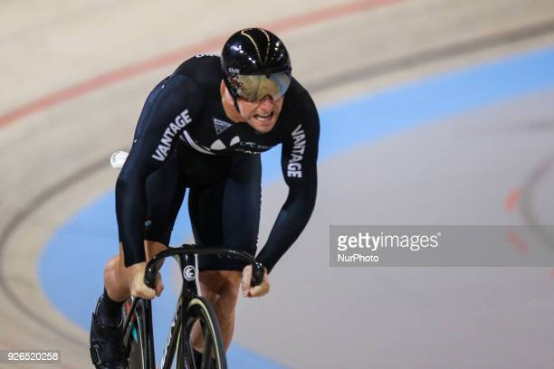 New Zealand's Edward Dawkins competes in Men`s sprint eight fnals during UCI Track Cycling World Championships 2018 in Apeldoorn, The Netherlans, on...