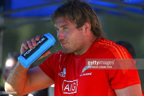 New Zealand's Ethan Blackadder drinks water during the captain's run in Brisbane on September 17 ahead of Rugby Championship round four clash with...