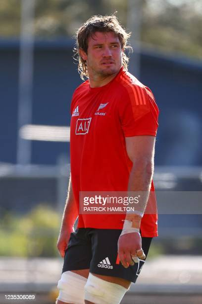 New Zealand's Ethan Blackadder looks on during the captain's run in Brisbane on September 17 ahead of Rugby Championship round four clash with...