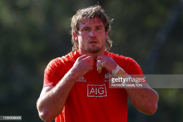 New Zealand's Ethan Blackadder walks onto the field during the captain's run in Brisbane on September 17 ahead of Rugby Championship round four clash...