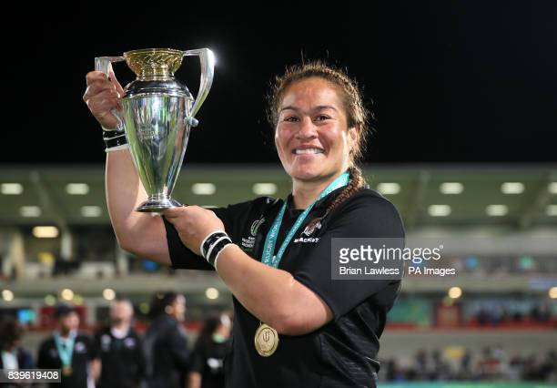 New Zealand's Fiao'o Fa'amausili poses with the trophy after winning the 2017 Women's World Cup Final at the Kingspan Stadium Belfast