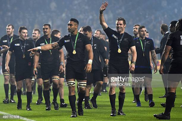 New Zealand's flanker and captain Richie McCaw waves after his team won 3417 during the final match of the 2015 Rugby World Cup between New Zealand...