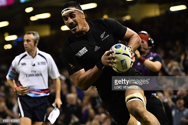 New Zealand's flanker Jerome Kaino scores his teams fifth try during a quarter final match of the 2015 Rugby World Cup between New Zealand and France...