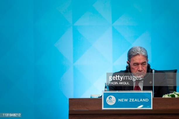 New Zealand's Foreign Minister Winston Peters listens as he attends an emergency meeting meeting of the Organisation of Islamic Cooperation in...