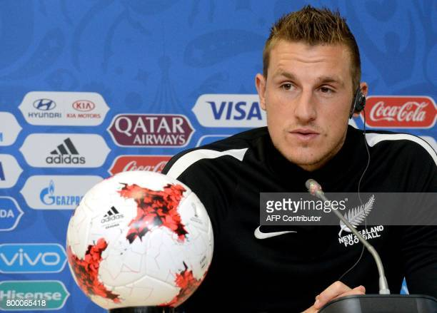 New Zealand's forward Chris Wood speaks during a press conference in Saint Petersburg on June 23 2017 on the eve of the 2017 FIFA Confederations Cup...