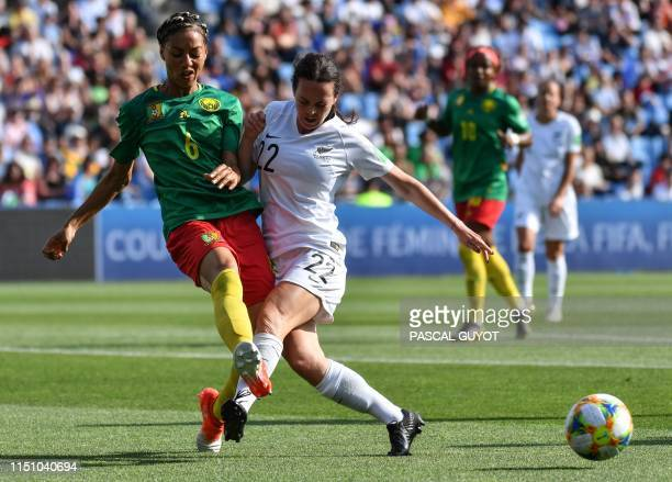 New Zealand's forward Olivia Chance vies for the ball with Cameroon's defender Estelle Johnson during the France 2019 Women's World Cup Group E...