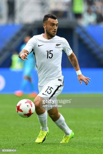 New Zealand's forward Shane Smeltz runs with the ball during the 2017 Confederations Cup group A football match between New Zealand and Portugal at...