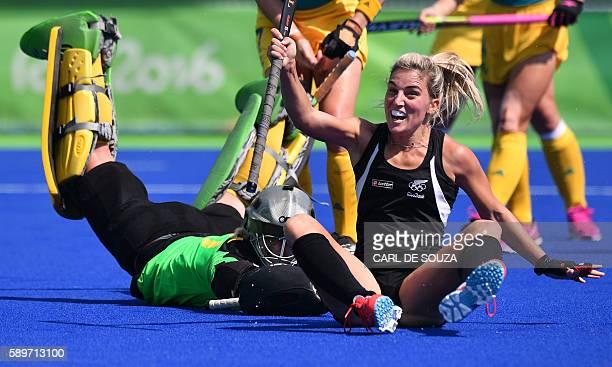 TOPSHOT New Zealand's Gemma Flynn celebrates after scoring her team's third goal during the the women's quarterfinal field hockey New Zealand vs...
