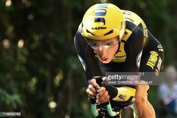 New Zealand's George Bennett rides during the thirteenth stage of the 106th edition of the Tour de France cycling race, a 27,2-kilometer individual...