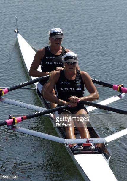 New Zealand's Georgina and Caroline Evers Swindell after winning their Doubles Sculls heat at the Schinias Olympic Rowing Complex in Athens Greece...