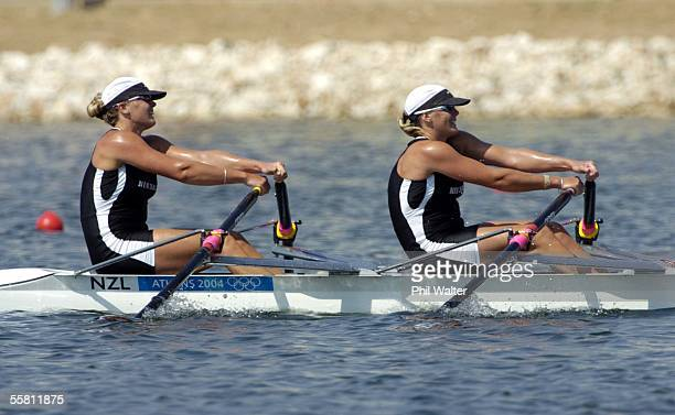 New Zealand's Georgina and Caroline Evers Swindell on their way to winning their Doubles Sculls heat at the Schinias Olympic Rowing Complex in Athens...