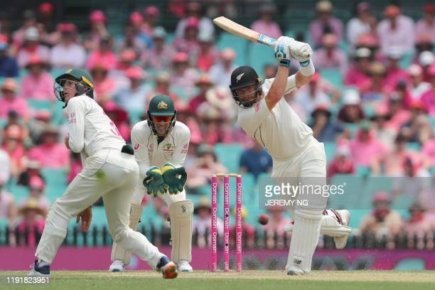 New Zealand's Glenn Phillips bats during the third day of the third cricket Test match between Australia and New Zealand at the Sydney Cricket Ground...