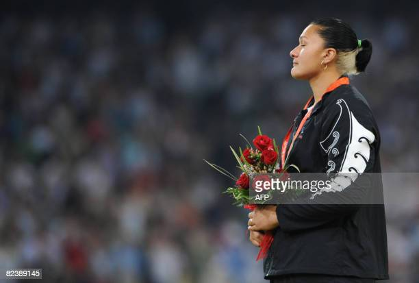 New Zealand's gold medalist Valerie Vili poses on the podium a day after the women's shot put at the National Stadium as part of the 2008 Beijing...