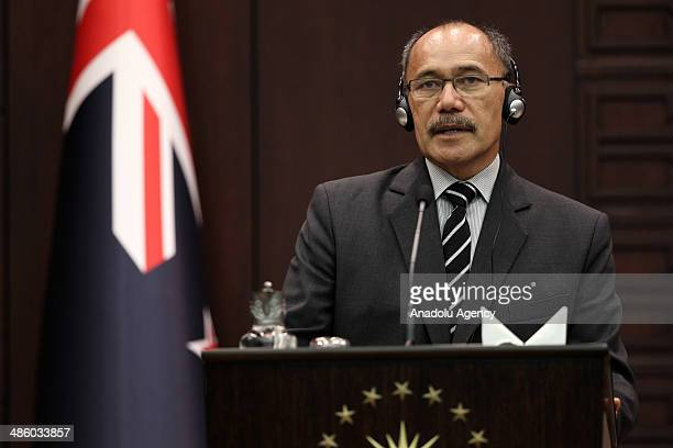 New Zealand's GovernorGeneral Sir Jerry Mateparae holds a press conference after their meeting at Cankaya Palace in Ankara Turkey on April 22 2014