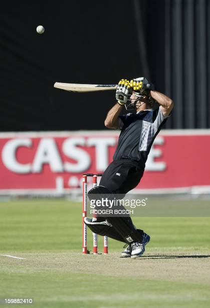 New Zealand's Grant Elliot bats the ball during the second One Day International cricket match in the three game series between South Africa and New...