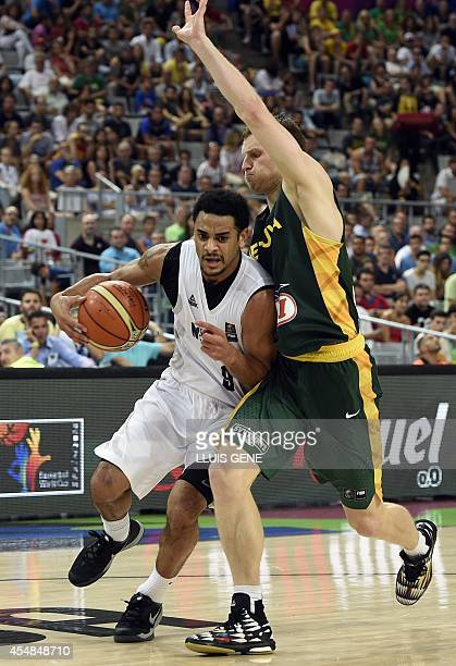 New Zealand's guard Corey Webster vies with Lithuania's forward Martynas Pocius during the 2014 FIBA World basketball championships round of 16 match...