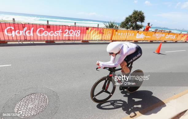 New Zealand's Hamish Bond competes during the Cycling Time Trial on day six of the Gold Coast 2018 Commonwealth Games at Currumbin Beachfront on...