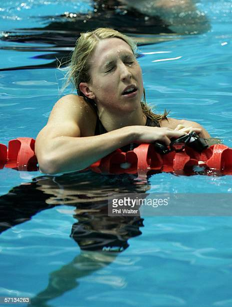 Melanie Marshall of England shows her disappointment after finishing second in the women's 50m freestyle final at the swimming held at the Melbourne...