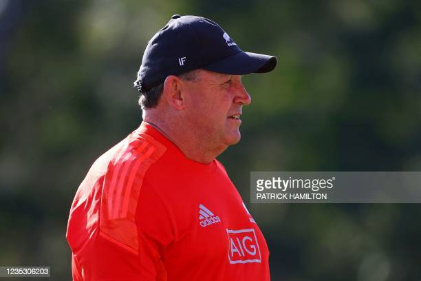 New Zealand's head coach Ian Foster looks on during the captain's run in Brisbane on September 17 ahead of Rugby Championship round four clash with...