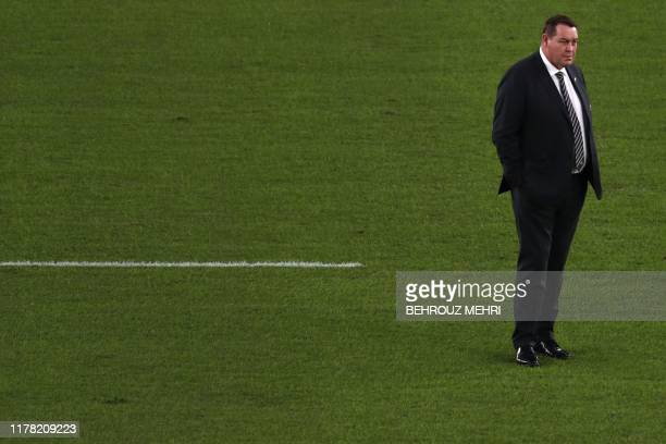 New Zealand's head coach Steve Hansen looks on before the Japan 2019 Rugby World Cup semi-final match between England and New Zealand at the...