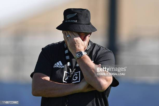 New Zealand's head coach Steve Hansen reacts during a training session at the Tatsuminomori Seaside Park in Koto, Tokyo prefecture on September 17...
