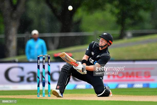 TOPSHOT New Zealand's Henry Nicholls bats during the third oneday international cricket match between New Zealand and the West Indies at Hagley Oval...
