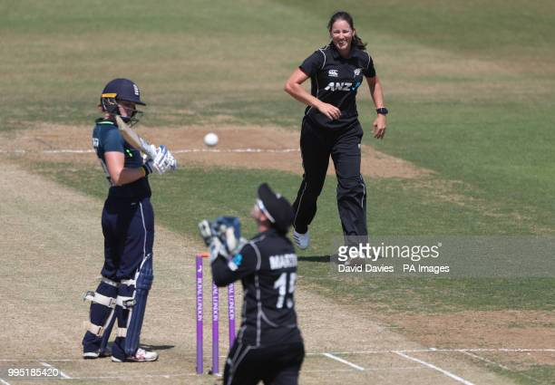 New Zealand's Holly Huddleston celebrates taking the wicket of England's Heather Knight during the Second One Day International Women's match at the...
