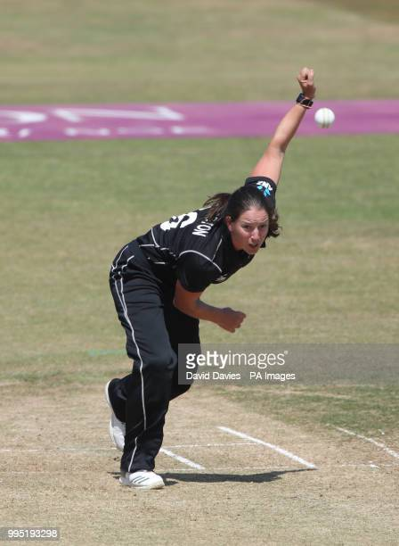 New Zealand's Holly Huddleston during the Second One Day International Women's match at the 3aaa County Ground Derby