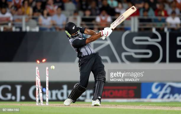New Zealand's Ish Sodhi is bowled out during the final Twenty20 Tri Series international cricket match between New Zealand and Australia at Eden Park...