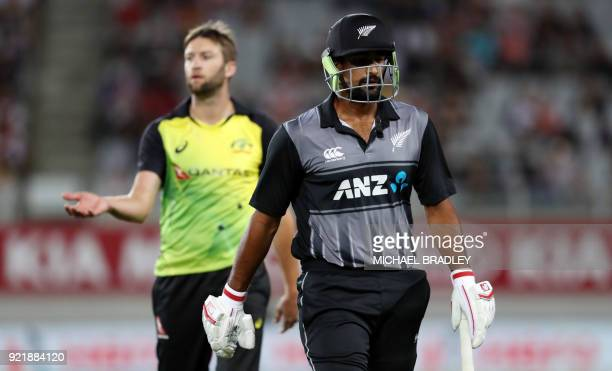 New Zealand's Ish Sodhi walks off after being dismissed by Australia's Andrew Tye during the final Twenty20 Tri Series international cricket match...