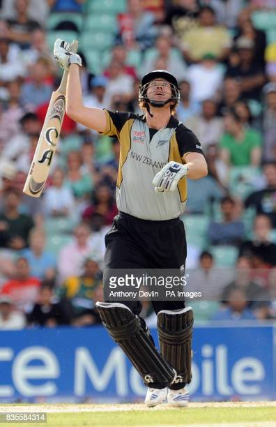 New Zealand's Jacob Oram looks on as he is caught by Pakistan's MisbahUlHaq off the bowling of Shahid Afridi during the ICC World Twenty20 Super...