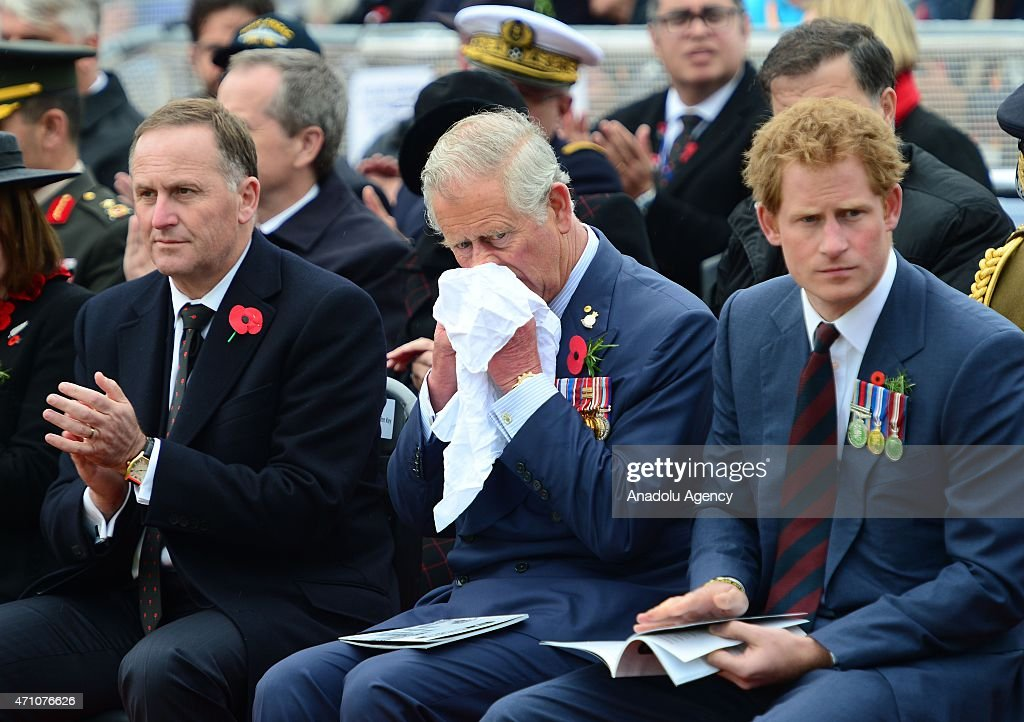 New Zealand's John Key (L), Prince Charles of Wales (C) and Prince Harry (R) attend a memorial service at the New Zealand National Memorial on the occasion of the 100th anniversary of Canakkale Land Battles on Gallipoli Peninsula in Canakkale, Turkey on April 25, 2015.