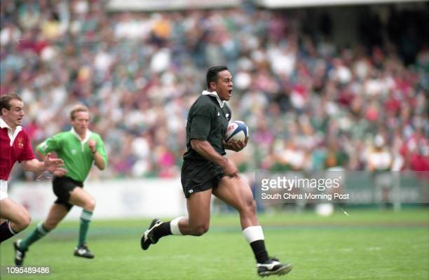 New Zealand's Jonah Lomu in full flight during New Zealand vs American Eagles Hong Kong Sevens at HK Stadium 25 March 1995