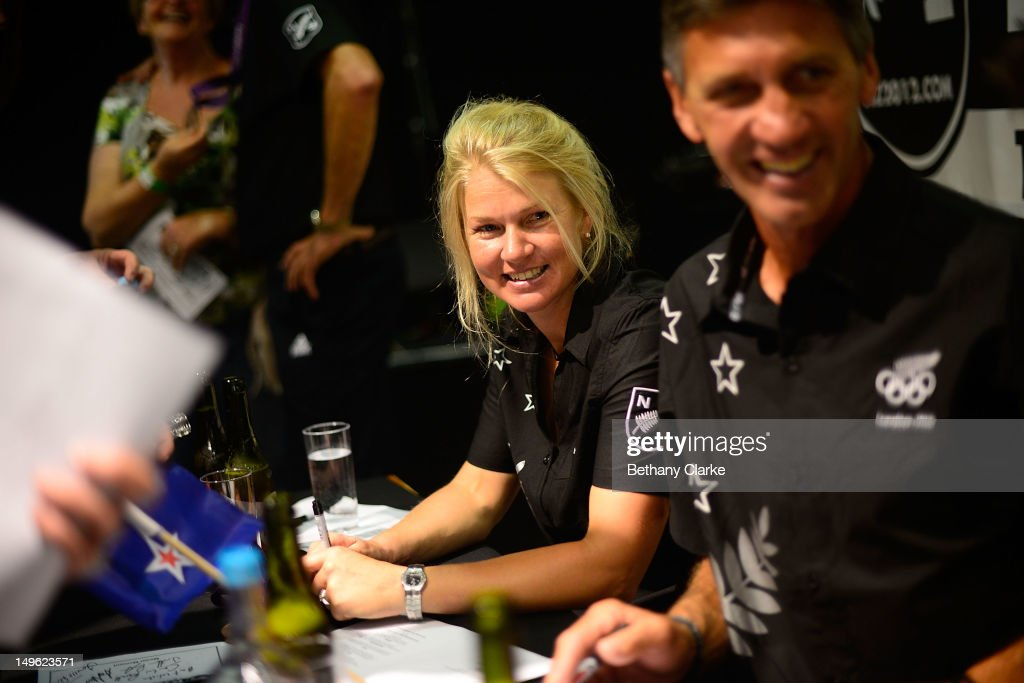 New Zealand's Jonelle Richards signs autographes for fans during a Visit Kiwi House on August 1, 2012 in London, England. New Zealand won their first medal at the London Olympics after they picked up bronze in the team's competition of the three-day eventing.