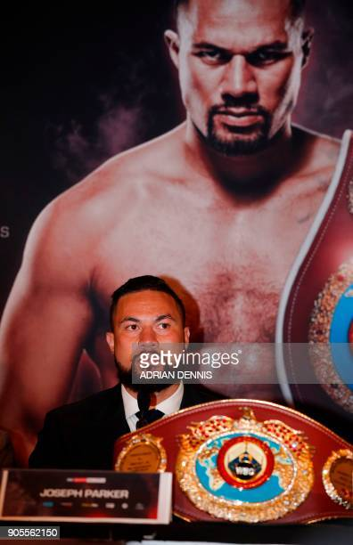 New Zealand's Joseph Parker WBO world heavyweight champion attends a press conference in central London on January 16 2018 to promote his March 31...