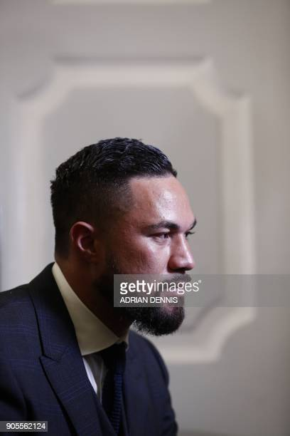 New Zealand's Joseph Parker WBO world heavyweight champion is interviewed at a press conference in central London on January 16 2018 to promote his...