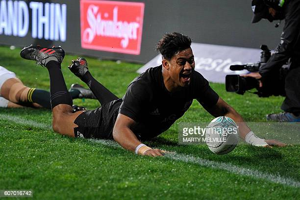 New Zealand's Julian Savea celebrates scoring a try during the rugby Test match between New Zealand and South Africa at AMI Stadium in Christchurch...