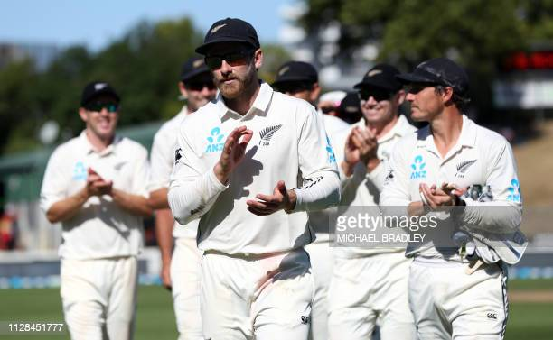 New Zealand's Kane Williamson leads the team off after their win during day four of the first cricket Test match between New Zealand and Bangladesh...
