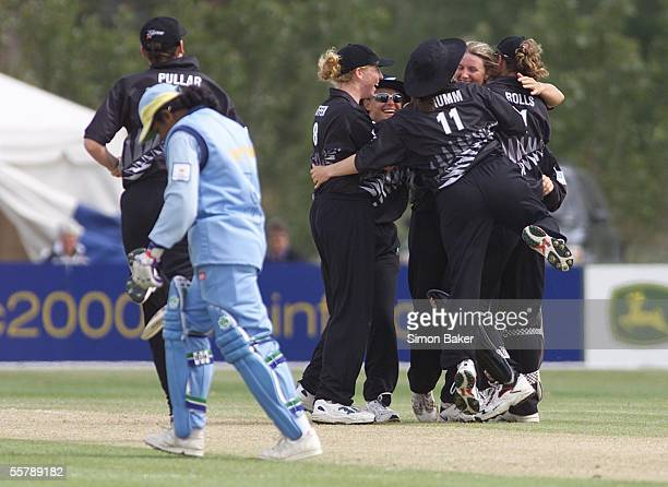 New Zealand's Kathryn Ramel2nd rightis congratulated by team mates after caught bowling India's Smitha Harikrisna for 14 during their CricInfo Womens...