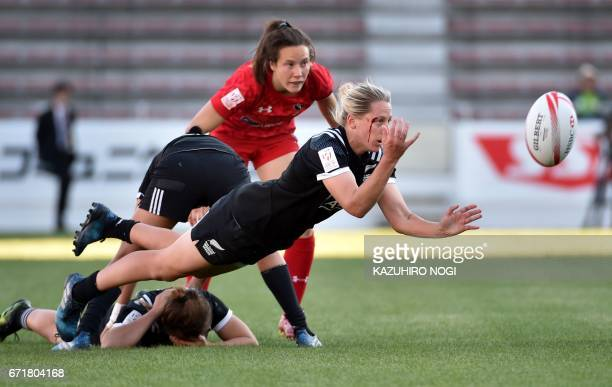 New Zealand's Kelly Brazier passes the ball during the final against Canada at the World Rugby Women's Sevens Series in Kitakyushu Fukuoka prefecture...