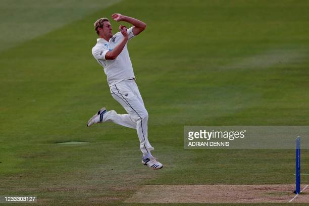 New Zealand's Kyle Jamieson bowls on the fifth day of the first Test cricket match between England and New Zealand at Lord's Cricket Ground in London...