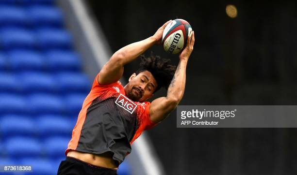 New Zealand's lock Ardie Savea grabs the ball during a training session on the eve of the friendly rugby union international match between France and...